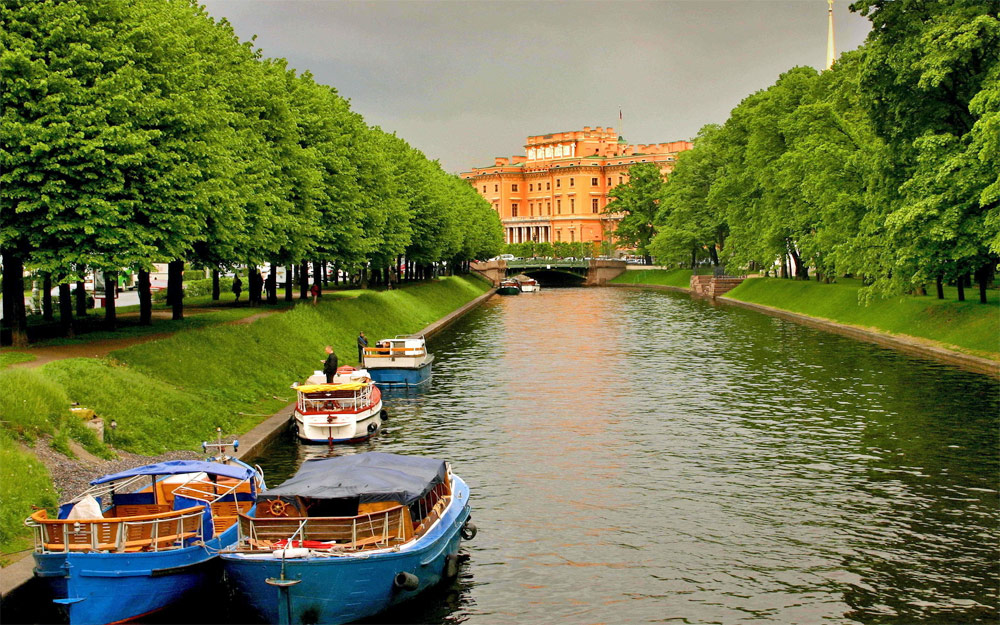 Rivers and canals of Saint-Petersburg, Russia by boat