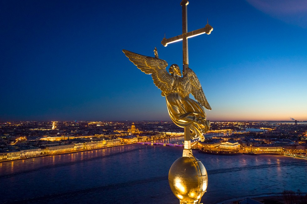 An angel, fixed atop a spire of the Saints Peter and Paul Cathedral in St.Petersburg